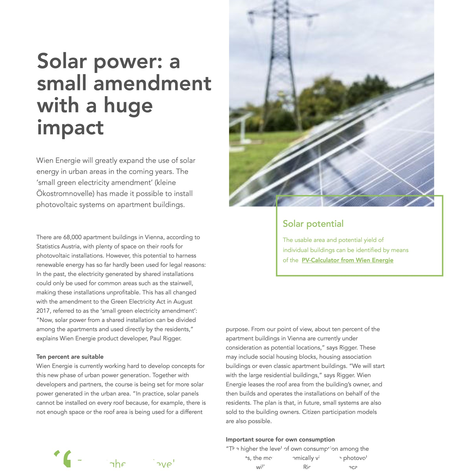 Solar power: a small amendment with a huge impact – Wien